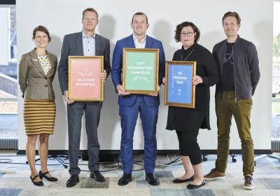 Bild på Petra Granholm, Peter Wiklöf, Virginus Sinkevičius, Veronica Törnroos och Micke Larsson.