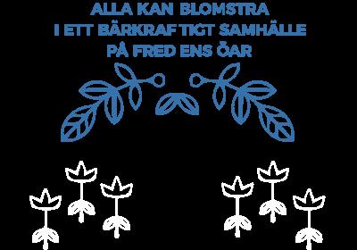 Blad i blått tillsammans med visionen i textform, Alla kan blomstra i ett bärkraftigt samhälle på fredens öar