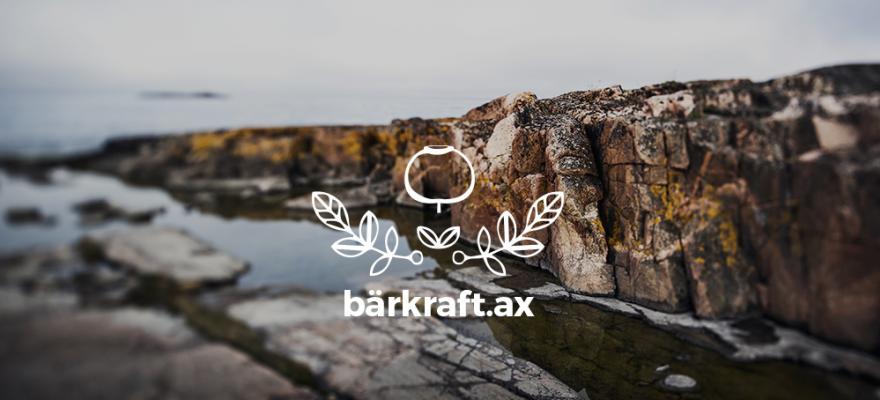 Bärkrafts logo i vitt med åländska röd granitklippor i bakgrunden