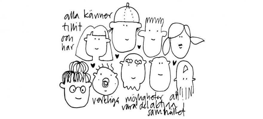 Tecknade glada ansikten i olika åldrar och med olika frisyrer, små hjärtan emellan