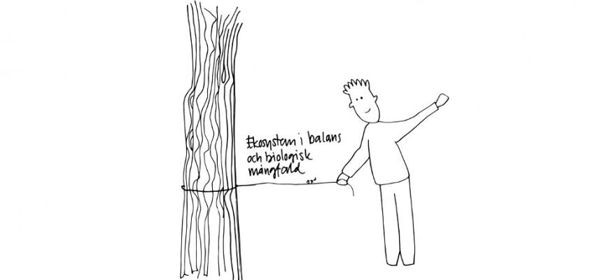 En tecknad bild med en korthårig person i byxor som håller ena änden av ett snöre, snöret sitter fast om en trädstam