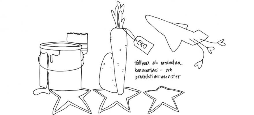 En teckning med en målarpyts med pensel, en morot och potatis med en eko-lapp, ett flygplan med hjärtgroddar efter, stjärnor under bilderna.