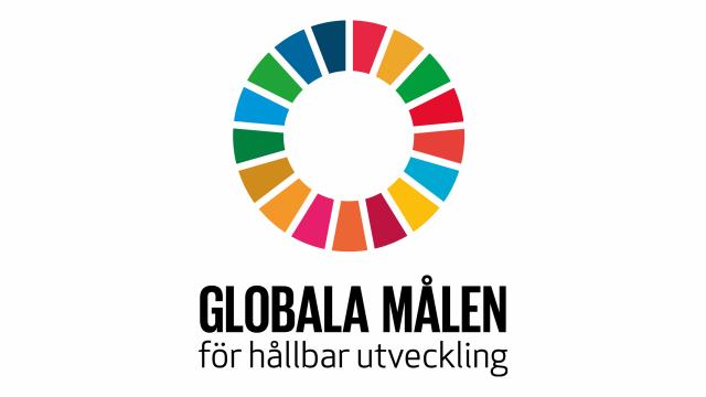 Logotyp för de globala målen för hållbar utveckling, en rund cirkel med pajbitar i olika färger.