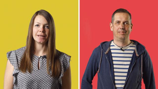 Kvinna mot gul bakgrund och man mot röd, sida vid sida.